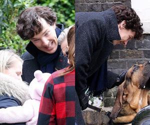 Сыщик, младенец и собака: Бенедикт Камбербэтч на съемках Шерлока